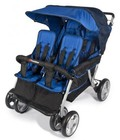 "Foundations LX Collection 4140037 72"" 4-Passenger Stroller with Dual Canopy Folding  Side-by-Side Design  Extra Wide Seating  Effortless Push and Heavy Duty Fabric Cover in Regatta"