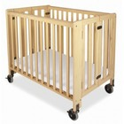 Foundations HideAway Collection 1011042 EasyRoll Full Sized Slatted Folding Crib with Casters  Innovative Design and Fixed Sided and Slated in Natural