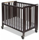 Foundations HideAway Collection 1011852 EasyRoll Full Sized Slatted Folding Crib with Casters  Innovative Design and Fixed Sided and Slated in Antique Cherry