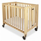 "Foundations HideAway Collection 1031042 Compact Sized Easy Roll Slatted Fixed-Side Folding Crib with 4"" Casters in Natural"