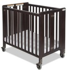 "Foundations HideAway Collection 1031852 40"" Compact Sized Easy Roll Slatted Fixed-Side Folding Crib with 4"" Casters in Antique Cherry"