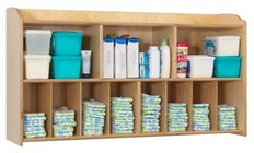"Foundations Serenity Collection 1772047 45"" Diaper Organizer and Storage Wall Unit with 3 Large Shelves and 8 Smaller Storage Compartments in Natural Color"