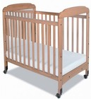 "Foundations Serenity Collection 1743040 40"" Safereach Fixed Side Mirror End Compact Crib with 3"" Ultra-Durable Antimicrobial Mattress in Natural Color"