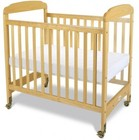 "Foundations Serenity Collection 1742040 40"" SafeReach Clearview Compact Crib with 3"" Ultra-Durable Antimicrobial Mattress in Natural Color"
