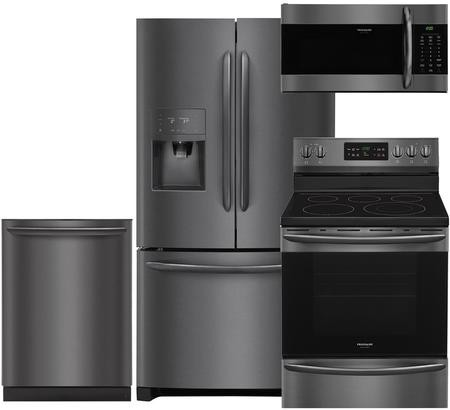 Frigidaire Gallery 4 Piece Black Stainless Steel Kitchen Package With Fghb2868td 36 French Door Refrigerator Fgef3036td