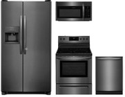 "Frigidaire 4-Piece Kitchen Package with FFSS2615TD 36"" Freestanding Side by Side Refrigerator  FFEF3054TD 30"" Freestanding Electric Range  FFMV1645TD 30"" Over the Range Microwave Oven  and FFID2426TD 24"" Built In Fully Integrated Dishwasher in Bl"