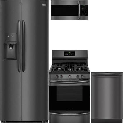 Frigidaire 4 Piece Kitchen Appliance Package With Fgss2635td 36 Side By Side Refrigerator Fggf3036td 30 Gas Range Fgmv176ntd 30 Over The Range