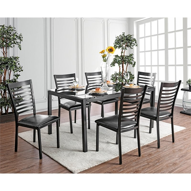 Cheap 7 Piece Dining Sets: Furniture Of America Torrance 7 Piece Glass Top Dining Set