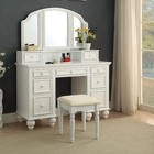 Furniture of America Athy CM-DK6848WH Vanity  with Transitional Style  Storage Drawers  Knob Pulls  3-Sided Mirror in White