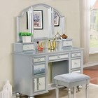 Furniture of America Tracy CM-DK6162SV Vanity  with Contemporary Style  Storage Drawers  3mm Mirror Inserts  3-Sided Mirror in Silver