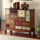 Furniture of America Desree CM-AC149 Accent Chest with Vintage Style  Cabinet with 9 Drawers  Multi-colored Panels  Curved Apron in Antique Walnut