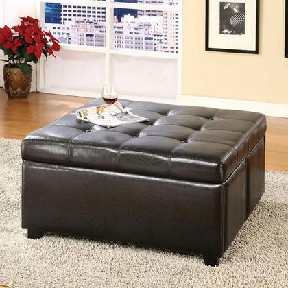 Furniture Of America Petula CM BN6381 Storage Ottoman With Contemporary  Style Padded Leatherette Seat 4 Storage Drawers Espresso ...
