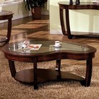 Furniture of America Crystal Falls CM4336C Coffee Table with Transitional Style  Solid Wood  Wood Veneer and Others  Irregular Shape Design  Dark Cherry Finish in Dark Cherry