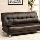 Furniture of America Beaumont CM2100 Leatherette Futon Sofa with Contemporary Style  Converts into Bed  Chrome Legs  Leatherette Seat in Dark Brown