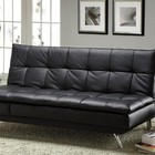 Furniture of America Hasty CM2750 Leatherette Futon Sofa with Contemporary  Converts Into Bed and Chaise  Black  Leatherette Seat in Black