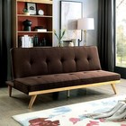 Furniture of America Lyra CM2441BR Futon Sofa with Contemporary Style  Mid-Century Tapering Legs  Linen-like Fabric  Tufted Cushion in Brown