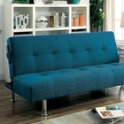 Furniture of America Dewey CM2679TL Futon Sofa with Contemporary Style  Side Pockets  Extra Folding Legs  Converts into Bed in Dark Teal