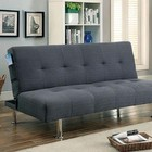 Furniture of America Dewey CM2679GY Futon Sofa with Contemporary Style  Side Pockets  Extra Folding Legs  Converts into Bed in Gray