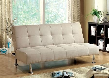 Superbe Furniture Of America Dewey CM2679IV Futon Sofa With Contemporary Converts  Into Bed Side Pockets Extra Folding ...