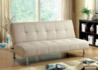 Furniture of America Dewey CM2679IV Futon Sofa with Contemporary  Converts Into Bed  Side   Pockets  Extra Folding Legs in Ivory