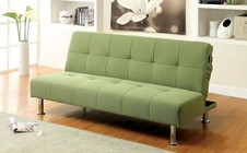 Furniture of America Dewey CM2679GR Futon Sofa with Contemporary  Converts Into Bed  Side   Pockets  Extra Folding Legs in Green