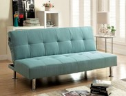 Furniture of America Dewey CM2679BL Futon Sofa with Contemporary  Converts Into Bed  Side   Pockets  Extra Folding Legs in Blue