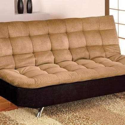 Furniture Of America Mancora CM2574M Microfiber Futon Sofa With  Contemporary Converts Into Bed Chrome Legs Pillow ...