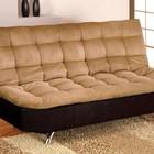 Furniture of America Mancora CM2574M Microfiber Futon Sofa with Contemporary  Converts Into Bed  Chrome Legs  Pillow Top in Tan/Black