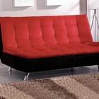 Furniture of America Malibu CM2574 Microfiber Futon Sofa with Contemporary  Converts Into Bed  Chrome Legs  Pillow Top in Red/Black