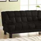 Furniture of America Bonifa CM2150 Elephant Skin Microfiber Futon Sofa with Contemporary Style  Elephant Skin Microfiber  Under-Seat Storage  Converts Into Bed in Black