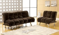 Furniture of America Marbelle CM2904DB Champion Fabric Futon Sofa with Contemporary  Converts Into Bed  Champion Fabric  Extra Folding Leg in Dark Brown