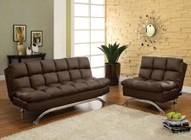 Furniture of America Aristo CM2906DK Futon Sofa with Contemporary  Converts Into Bed  Leatherette Seat  Extra Support Legs in Dark Brown
