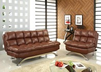 Furniture of America Aristo CM2906 Leatherette Futon Sofa with Contemporary  Converts Into Bed  Leatherette Seat  Extra Support Legs in Saddle Brown