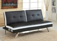 Furniture of America Harley CM2462WH Leatherette Futon Sofa with Bluethooth Speakers On Two Sides Of Futon  Contemporary Style  Split Back Seat  Converts Into Bed in Black/White