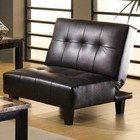 Furniture of America Belmont CM2565S-PU Leatherette Futon Sofa with Contemporary Style  Converts Into Bed  Leatherette Seat  Extra Folding Leg in Espresso