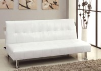 Furniture of America Bulle CM2669P-WH Leatherette Futon Sofa with Contemporary  Side Pockets  Extra Folding Legs  Converts Into Bed in White
