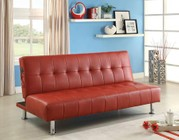 Furniture of America Bulle CM2669P-RD Leatherette Futon Sofa with Contemporary  Side Pockets  Extra Folding Legs  Converts Into Bed in Red