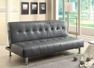 Furniture of America Bulle CM2669P-GY Leatherette Futon Sofa with Contemporary  Side Pockets  Extra Folding Legs  Converts Into Bed in Gray