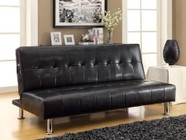 Furniture of America Bulle CM2669P-BK Leatherette Futon Sofa with Contemporary  Side Pockets  Extra Folding Legs  Converts Into Bed in Black