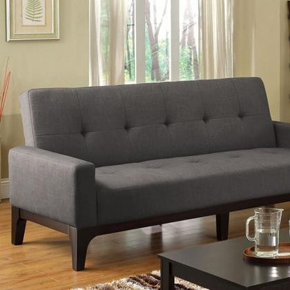 Furniture Of America Laporte Cm2450 Fabric Futon Sofa With Contemporary Converts Into Bed Padded Seat