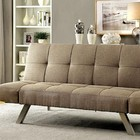 Furniture of America Arleen CM2818 Futon Sofa with Contemporary Style  Chrome Legs  Tufted Seat  Converts into Bed in Light Brown