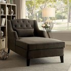 Furniture of America Roni CM-BN6147 Chaise with Traditional Style  Wingback Design  Padded Corduroy  Button Tufted in Mocha