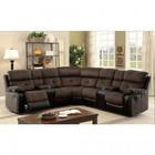 Furniture of America Hadley II CM6871-SECTIONAL Sectional  with Transitional Style  2 Recliners  Plush Cushions  Built-in Cup Holders and Storage in Brown/Espresso