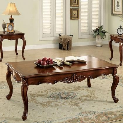 Charmant Furniture Of America Zahir CM4787C Coffee Table With Traditional Style  Parquet Table Top Cabriole Legs Ornate Carvings