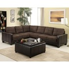 Furniture of America Lavena CM6453DK-PK Sectional with Transitional Style  Leatherette Arms  Elephant Skin Microfiber (Ottoman Not Included) in Chocolate