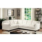 Furniture of America Peever I CM6268WH-SET Sectional with Contemporary Style  Button Tufted Cushions  Pillows Included  Leatherette in White