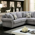Furniture of America Skyler II CM6156GY-SECT Sectional with Transitional Style  Rolled Arms  Plush Seats and Cushions  Wooden Block Feet in Gray