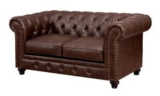Furniture of America Stanford CM6269BR-LV Love Seat with Traditional Style  Chesterfield-inspired  Rolled Arms  Nailhead Trim in Brown