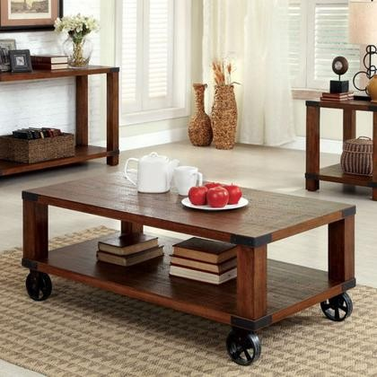 Furniture Of America Broadus CM4227C Coffee Table With Transitional Style  Metal Castors Metal Corner Accents Weathered ...