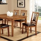 Furniture of America Freeman I CM3502T-7PK Dining Table Set with Transitional Style  Padded Leatherette Seat  Solid Wood  Wood Veneer and Others  Light Oak Finish in Light Oak